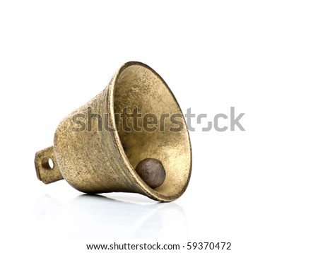 old bell over white background with copy space