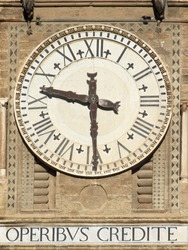 Old bell tower clock with Latin motto on Palermo Cathedral, Italy