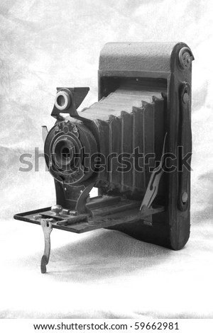 old bellows camera in black and white