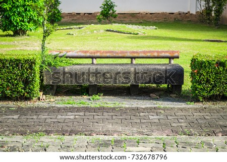 old bench in the park at...