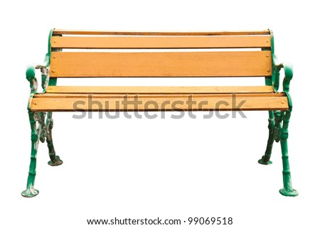 Old bench on white background