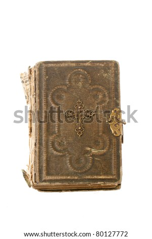 Old Bible isolated on a white background