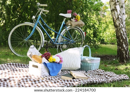 old bicycle and picnic snack on ...