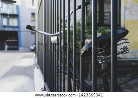 Old bicycle at the fence rods #1423365041