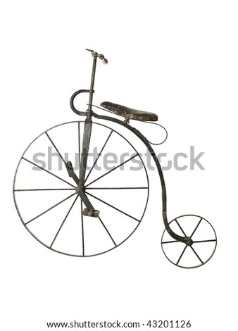 Old bicycle isolated on a white background - stock photo