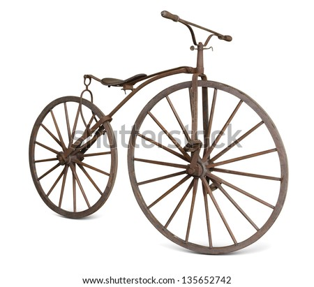 old bicycle with wooden wheels isolate  with clipping path