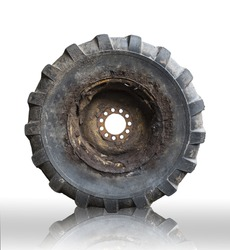 Old big heavy tire and wheel (with clipping path)