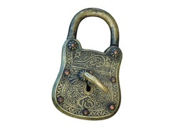 Old big padlock with key. Vintage padlock isolated on white background
