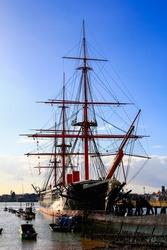 Old Big Sailing Ships Pier Sea Portsmouth United Kingdom