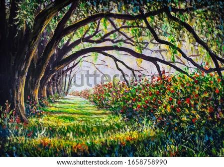 Old big trees alley park oil painting, sunny forest landscape artwork illustration modern fine art