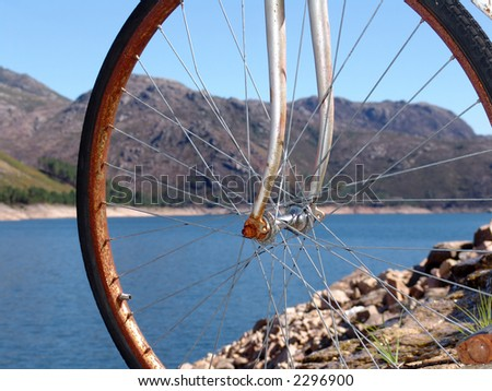 old bike in the mountain, water, ancient