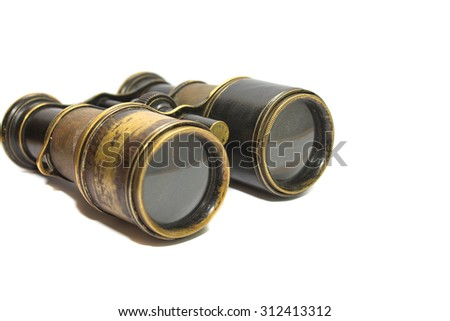 Old binoculars on white background #312413312