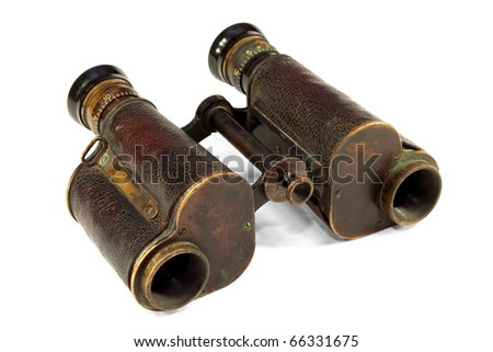 Old binoculars, optical instrument for observation at a distance