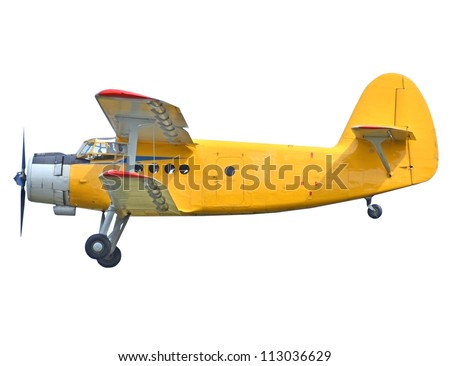 Old biplane isolated on white background