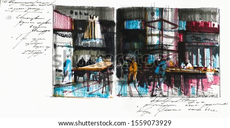 Old bistro visitors watercolor hand drawn illustration. People sitting at tables in canteen expressionist painting with calligraphy. Megapolis citizens lunch break drawing. City lifestyle concept