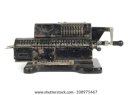 Old black adding machine isolated on white background with clipping path #108975467