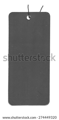 old black blank cardboard tag isolated on white background