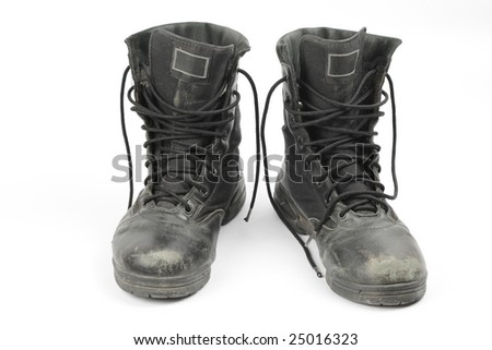 Old black boots, isolated