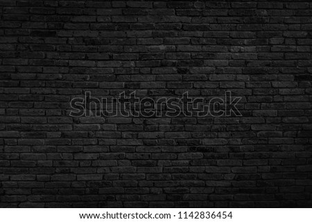 Old black brick wall texture background,brick wall texture for for interior or exterior design backdrop,vintage dark tone. #1142836454