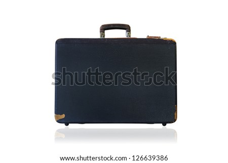 Old black brief case  on a white background. Isolated on white.