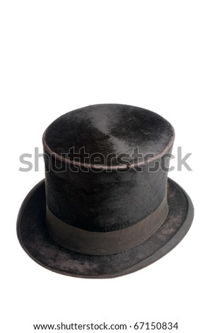 Old black high hat isolated on white background