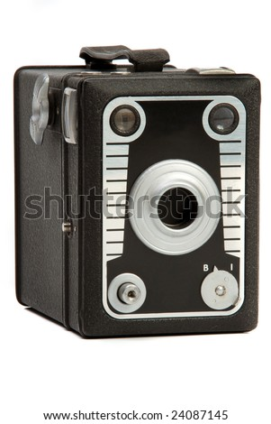 Old black leather finish box Photo camera