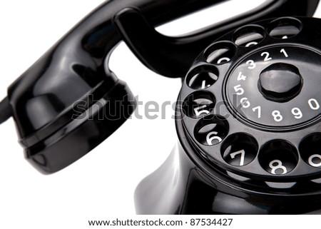 Old Black Retro Phone - stock photo