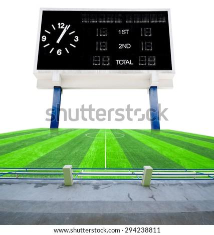 Old black score board in field soccer on white background.