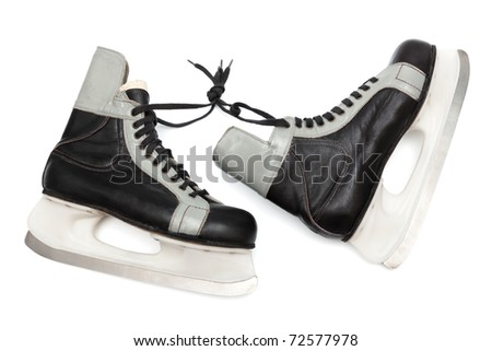 old black skates on white background