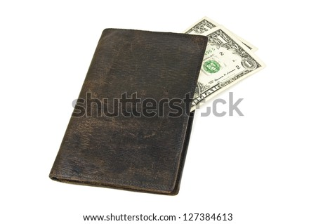 old black wallet with two dollars