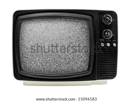 "Old 12"" black & white portable television, dusty and dirty. Isolated on white. Some static noise added on the screen in post-production."