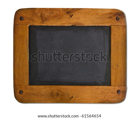 Old blackboard with a wooden frame isolated on white background.