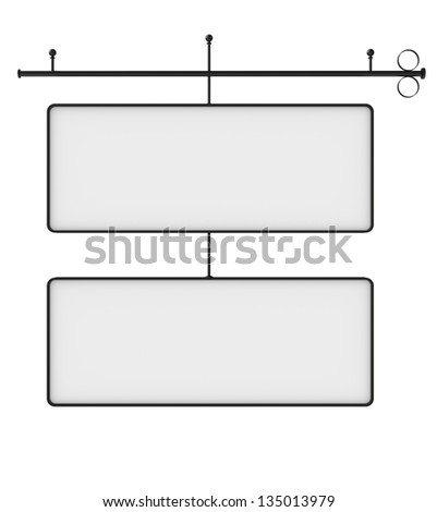 Old blank metal store sign isolated on white, Clipping path included. Ready for text. - stock photo