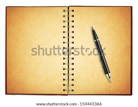 old blank notebook with new pen for take notes, included clipping path