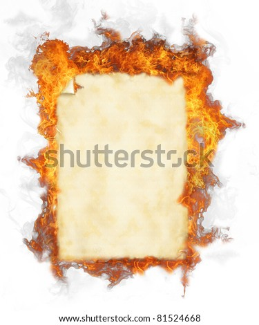 Old blank paper in fire, isolated on white background