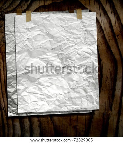 Old Blank Papers Taped On Wood Wall