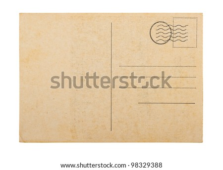 Old blank post card white background, clipping path.