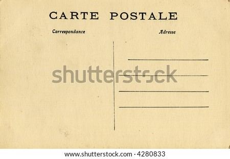 Old blank postcard in French