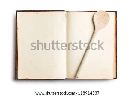 old blank recipe book on white background - stock photo