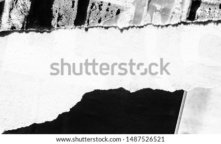 Old blank ripped torn poster texture background grunge creased crumpled paper vintage collage placards empty space text