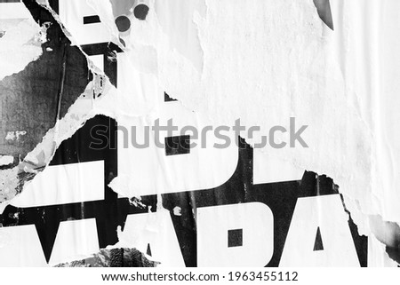 Old blank ripped torn posters textures backgrounds grunge creased crumpled paper vintage collage placards empty space for text backdrop surface Foto d'archivio ©
