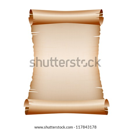 old blank scroll paper on white background.