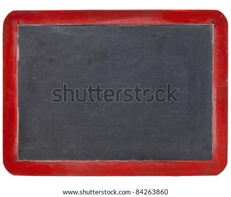 old blank slate blackboard in red wood frame, isolated on white