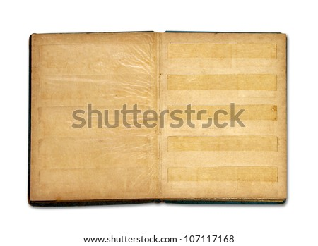 Old blank stamp book album isolated on white background