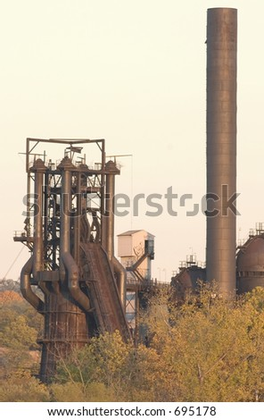 Old blast furnace and smokestack.