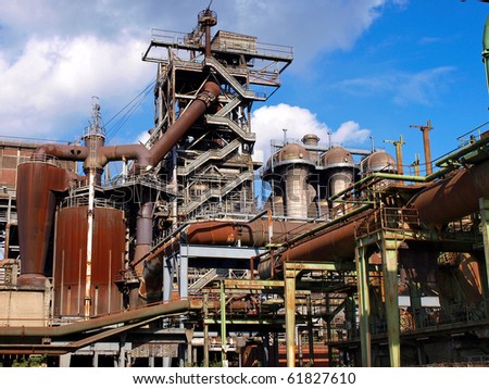 old blast furnace in Duisburg's steel mill from the last century