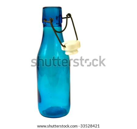 OLD BLUE BOTTLE WITH LID