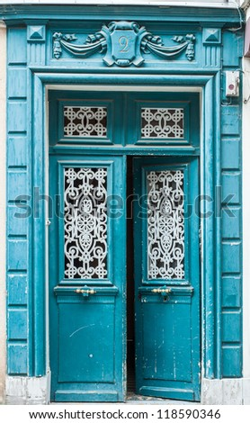 Old blue carving door in Chartres, France