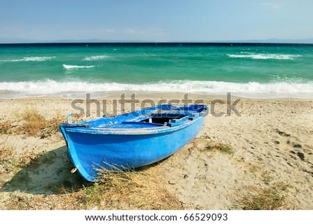 old blue greek fisherman boat #66529093