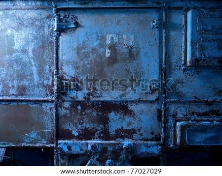 Old blue metal industrial background #77027029